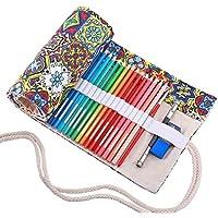 Abaría - Bolsa de lápiz de colores, grande estuche enrollable 72 lápices, portalápices de