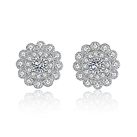Eynoca 925 Sterling Silver Stud Earrings Authentic Push Back Design