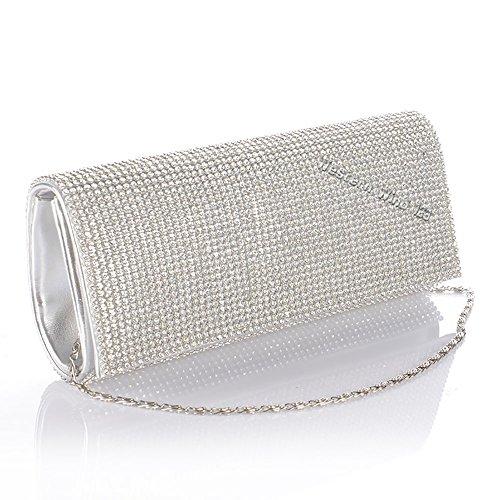 Wocharm (TM) oro argento con cristalli strass da donna party sera pochette Silver Silver