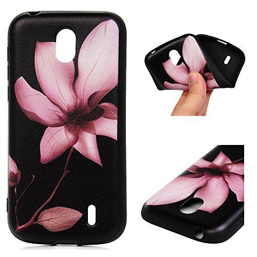 Edauto Nokia 1 Hülle Silikon Case Premium Relief TPU Silikon Tasche Schutzhülle Case Cover Handytasche Soft Flex Silikon Schlank Bumper Handyhülle für Nokia 1 Rosa Blume