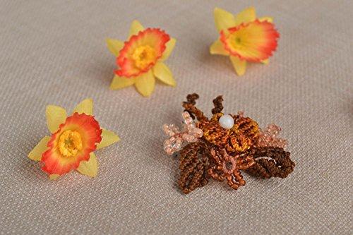 Handmade Blumen Brosche Makramee Schmuck Designer Accessoire braun geflochten (Geflochtener Cardigan)