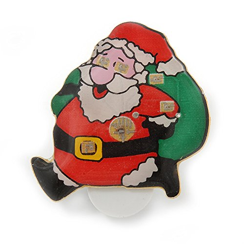 Blinkende LED-Lichter Weihnachten Santa mit Magnetverschluss Brosche-35mm