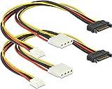 Delock Kabel Y-Power SATA Stecker 15 Pin > 4 Pin Molex Buchse + 4 Pin Floppy (2er-Pack)