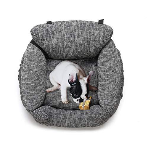FRISTONE Hunde Autositz, Waschbar Auto Hundebett, rutschfeste Katze Reisen Front Booster Sitze mit Abnehmbare HundeKissen, Rosa(Pink), Blau, Kaffeebraun (Dunkelgrau) -