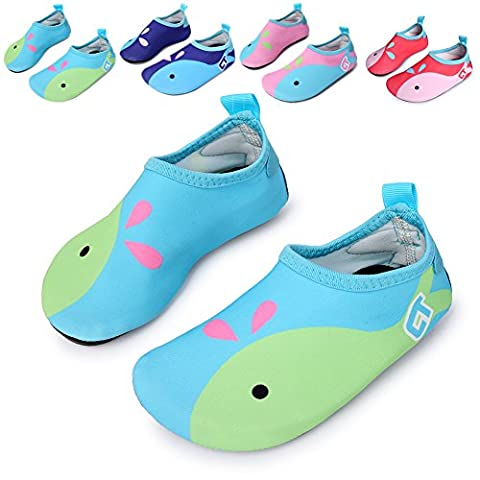 L-RUN Flexible Barefoot Water Skin Shoes Aqua Socks for Beach Swim Surf Yoga Exercise Light Blue