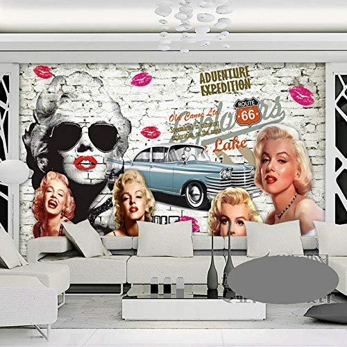 Tapeten Wohnkultur Tapeten 3D Retro Backsteinmauer Malerei Marilyn Monroe Auto Foto Tapeten Wandbild Selbstklebende Vinyl/Seide Tapete-300 * 210Cm