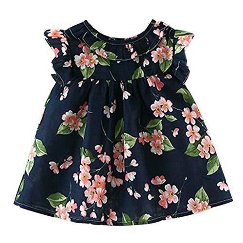 (Lenfesh Baby Blumenkleid Kleinkind Kind Baby Mädchen Outfits Kleidung Floral Print Party Pageant Princess Dress Mädchen Sommerkleid Weste A-Linie knielangen Kleid)