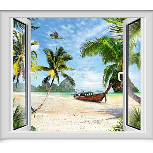 JINZAI 3D massive Wand Tapeten emulation Fenster Aussicht von selbstklebenden abnehmbar und unbezähmbaren Ozean Blick 3, Maximum