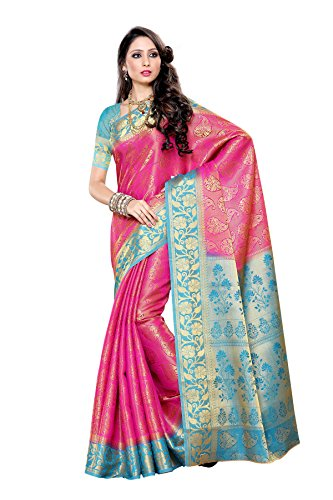 Mimosa Women's Traditional Art Silk Saree Kanjivaram Style, color :Pink(3278-197-PINK-AND)  available at amazon for Rs.2099