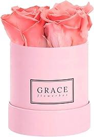 Grace Flowerbox - Juego de 4 rosas, diseño de infinito, color rosa