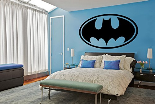 Adhesivo decorativo para pared con el logo de Batman, vinilo, negro, large
