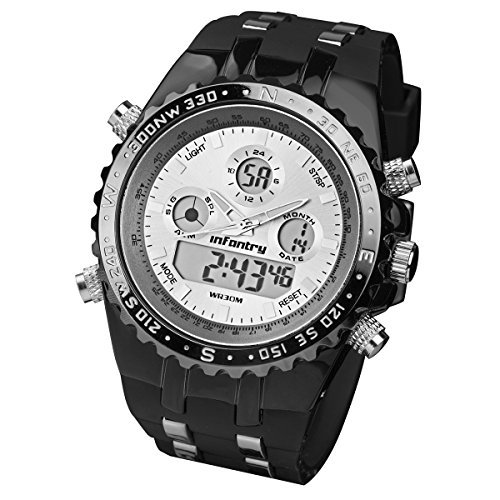 INFANTRY® Herren Analog-Digital Armbanduhr Alarm Stoppuhr Sportuhren Edelstahl Fliegeruhr Gummi Armband