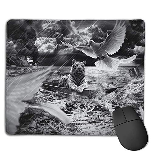 Mouse Pad Tiger Dove Boat Rain Lake Rectangle Rubber Mousepad 8.66 X 7.09 Inch Gaming Mouse Pad with Black Lock Edge