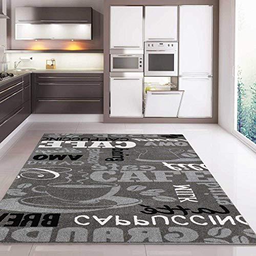 *Teppich Modern Sisal Optik Küchenteppich Küchenläufer Coffee Grau Weiss Schwarz Töne spiegelverkehrt 160×220 cm*