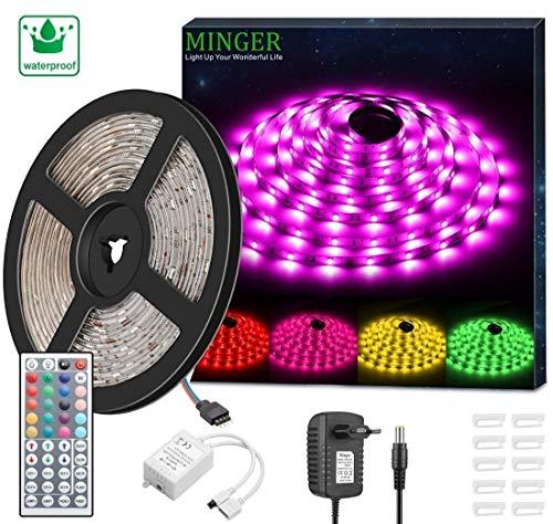 Minger RGB LED Strip Set, Wasserdicht bis 5 Meter SMD 5050 LED Strip Full Kit mit 44-Tasten IR Fernbedienung und 12V Netzteil, flexibel LED Schlauch für Zuhause Küche Weihnachten Indoor Dekoration