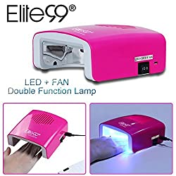 Elite99 5.5W Dual-function Nail Dryer,Professional LED+Fan Drying Nail Lamp, USB Charging Curing Nail UV Gel Polish Manicure Machine, Nail Art Salon Tool Built-in Timers 30s Rose Red