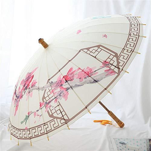 Stockschirme Taschenschirme Weißer Quastenbambusregenschirm Chinesischer gerader Regenschirm deshölzernen Langen Griffregenschirmes des Winds (Große Hölzerne Stöcke)