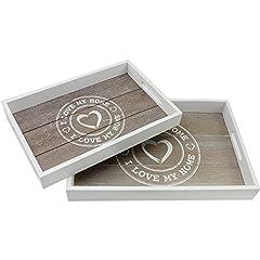 Idea Regalo - COM-FOUR® Set vassoio in legno 2 pezzi con motivo