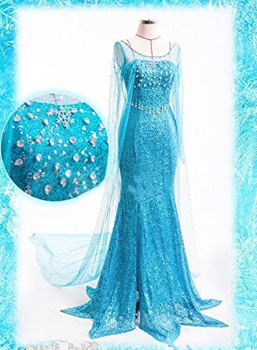 WSJDE ELSA Königin Erwachsene Frauen Kleid Kostüm Cosplay Flowery Phantasie Party Kleid Kleider Vestido Blau Sexy Frauen Kleidung S (Sexy Kostüm Elsa)