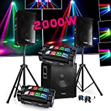 PACK SONO DJ 2200W CUBE 1512 avec CAISSON + ENCENTES + PIEDS + CABLES + 2 Spider Micro RGBW Ghost