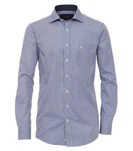 Casa Moda - Comfort Fit - Bügelfreies Herren Business Hemd kariert mit extra langem Arm (72cm) (006362) Blau (101)