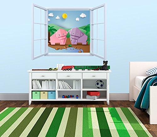 Vinilo Decorativo Pared Infantil | Ventana Elefantes Origami | Varias Medidas 155x155cm...