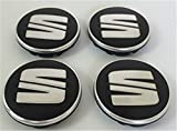 Set of Four Alloy Wheels Center Hub Caps 55 mm Chrom Silver Grey Logo Black Covers 5 F0601171 Set von vier Felgen Aluminium Zentrum Radkappen, Nabe Deckel Nabe 55 mm Chrom Silber Grau