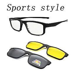 Vast Polarized Clip on Unisex Sunglasses Plus Spectacle Frame(45|Black)