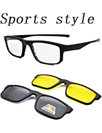 Vast Sports Style Polarized 2 In 1 Clip On Sunglasses Plus Spectacle Frame (TR2258_NIGHTDRIVE_DAYDRIVE)