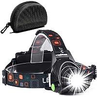 Cobiz Head Torch, Zoomable Waterproof USB Rechargeable Walkers Head lights-Black