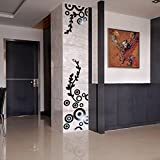 wandaufkleber wandtattoos Ronamick Kreative Kreis Ring Acryl Spiegel Wandaufkleber 3D Home Room Decor Decals (Schwarz)