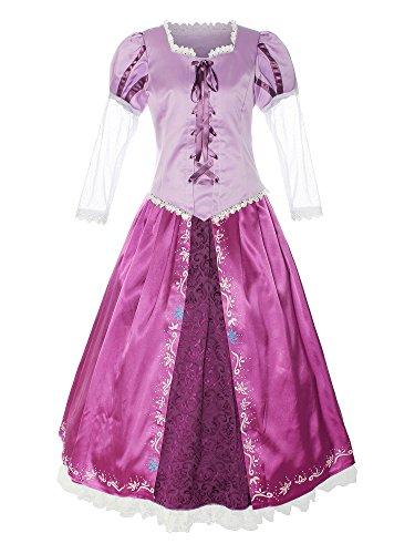 ReliBeauty Damen Lace Up Schnüren Prinzessin Deluxe Top Rock Set Fasching Karneval Cosplay Kostüme, Violett, 34-36 (Lace Up Kleid Kostüme)