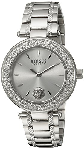 Versus by Versace Women's 'BRICK LANE CRYSTAL' Quartz Stainless Steel Casual Watch, Color Silver-Toned (Model: S71080016)