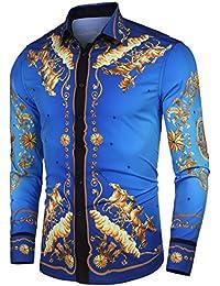 1bd06f97a22 Mens Long Sleeve Shirt Luxury Design Print Hipster Gold Shirt