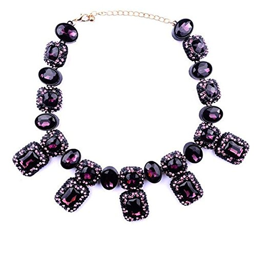 TWOPAGES Crystal Glass Encrusted Statement Necklace Purple Jewelry Gifts for Women