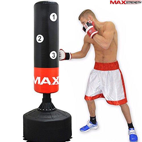 Training Sockel (MAXSTRENGTH® Freistehender Boxsack, Sandsack, stehend, robust, für Boxen, Kickboxen, gemischte Kampfkünste (MMA), mit 6 Füßen)