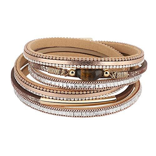 Emibele Layered Leather Bracelet, Bohemian Style Multilayer Wrap Bracelet with Metal & Diamond & Tiger's Eye Stone for Women Girls Ladies - Champagne Sun Diamond Girl