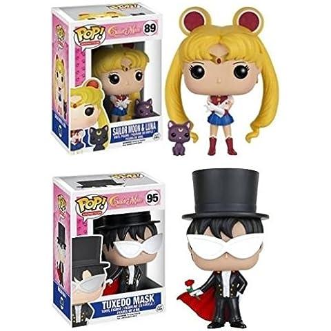 Funko POP! Sailor Moon w/ Luna & Tuxedo Mask - Anime Manga Vinyl Figure Set NEW