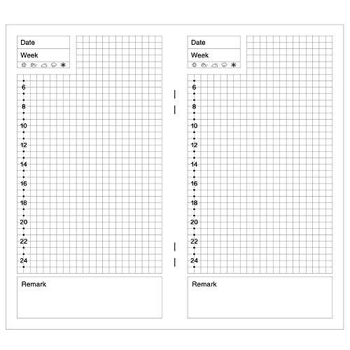 XUAN Ricambio/Ricarica Agenda Giornaliero, 2019/2020 DIY A5-A6, Senza Data Refill/Ricariche Planner, Inserto/Carta Ricaricabile per Diario Taccuino quaderno Traveler's Notebook Pagine/Fogli Daily
