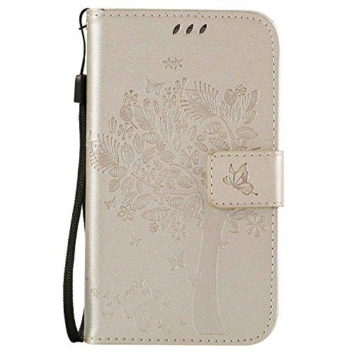 Guran® Funda de Cuero Para Samsung Galaxy Grand Neo Plus / Grand Neo (i9060) Smartphone Función de Soporte con Ranura para Tarjetas Flip Case Cover-oro