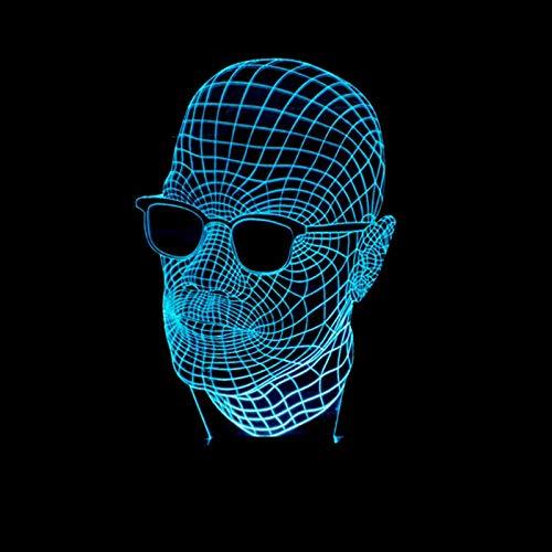 3D LED Lampe Mann mit Brille Optisch 3D-Illusions-Lampen Touch Tischlampe Haus Dekoration 7 Farben Einzigartige Lichteffekte USB Kabel USB-Kabel Powered Schöne Bild Acryl Material Panel ABS Basis