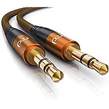 5,0m Cable jack de audio de 3,5 mm recto   Cable adaptador de audio   válido para teléfono móvil smartphone iPhone iPad iPod táblet etc.   naranja / negro