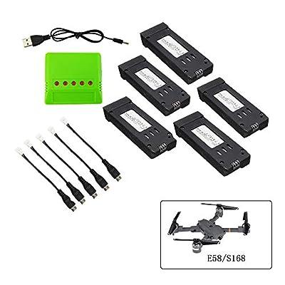 Togather 3.7v 500mah Batterie und Ladegerät für E58 S168 WiFi RC Quadrocopter Drohne Ersatzteile von Togather