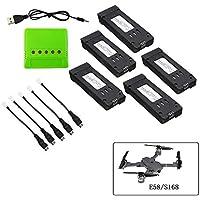 Togather 3.7v 500mah Batterie und Ladegerät für E58 S168 WiFi RC Quadrocopter Drohne Ersatzteile