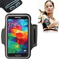 TechExpert Brassard tour de bras noir pour Samsung Galaxy S6 et S6 edge idéal pour les sportifs, course à pied ou salle de sport, pochette pour clé et trous pour écouteurs