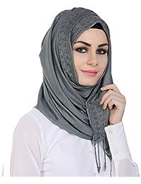 Momin Libas Women's Viscose Embroidered Hijab(HVC45917_Grey_Medium)