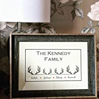 Unframed personalised family print, stag, antlers, deer, christmas family gift