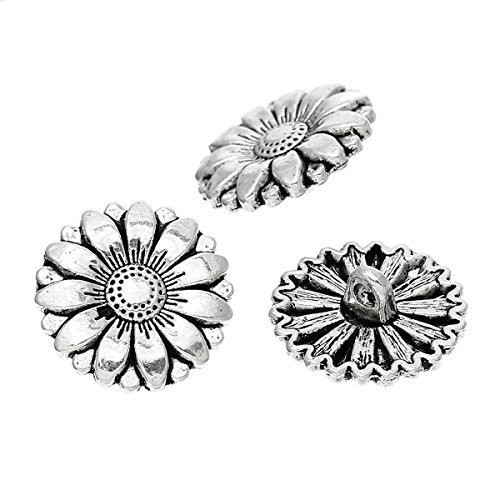 the-bead-and-button-box-10-silver-tone-sunflower-buttons-lead-and-nickel-free-18mm-suitable-for-sewi