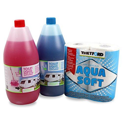 Set Toilettenflüssigkeit für Abwassertank und Spülbehälter + Toilettenpapier