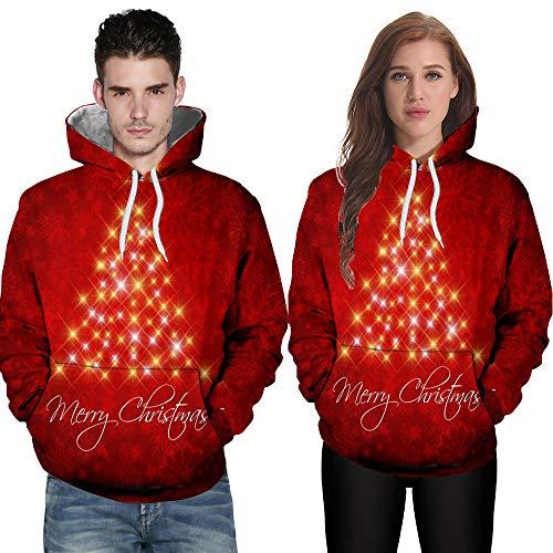 TWBB Damen Herren Christmas Paare Hoodies Slim Fit 3D Christmas Tree Bedruckte Kapuzenpullover Langarm Fashion Mantel Outwear Sweatjacke